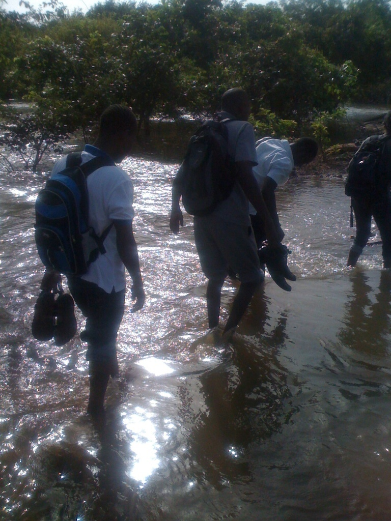 River crossing during the baseline survey