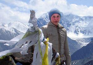 Nadya at pass overlooking sacred Mt. Belukha