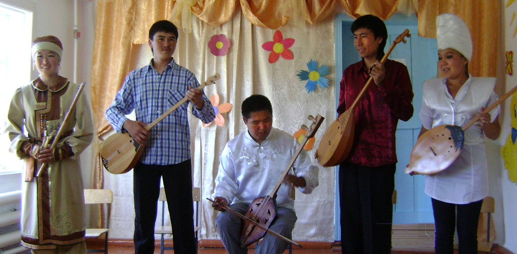 throat-singers performing at community center