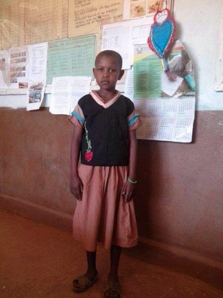 Grace, a Samburu girl, first time in school