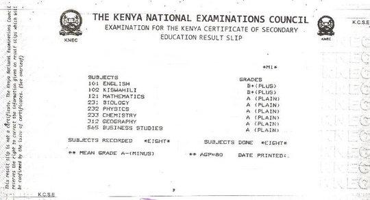 A Sample KCSE results Slip
