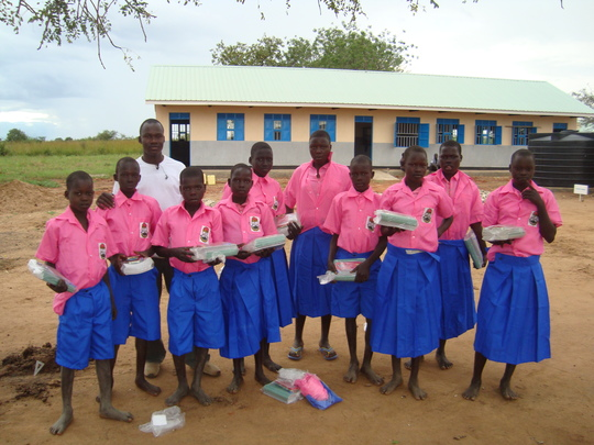 Children with their new school materials