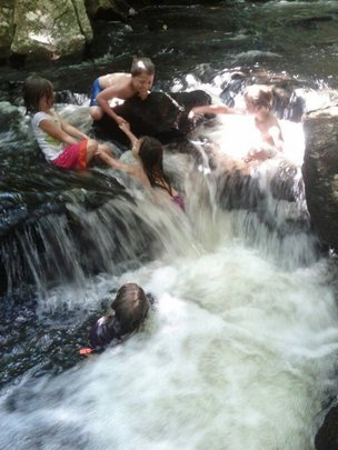 Exploring and riding the waterfall