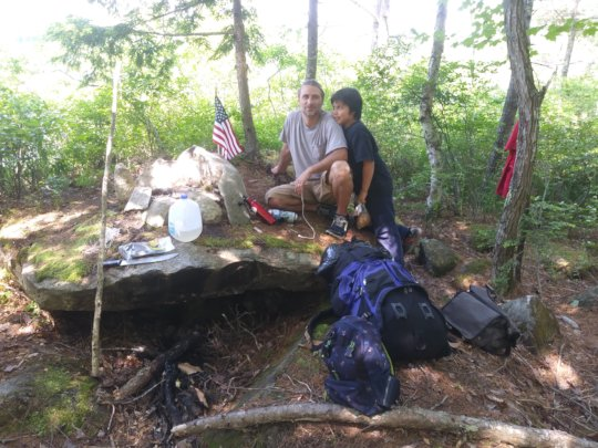 Making camp on the Hills to Sea Trail
