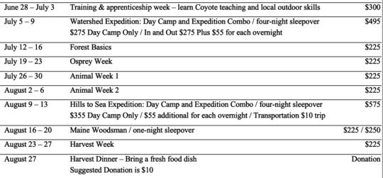Camp Forest 2021 schedule