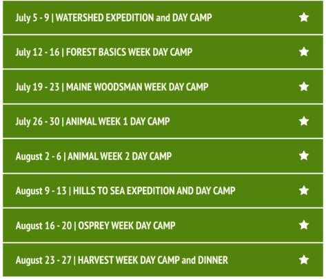 2021 Camp Schedule