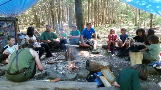 Morning Circle at Camp Fforest