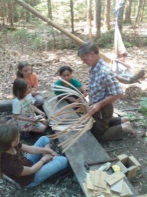 Ray Reitze teaches basket weaving