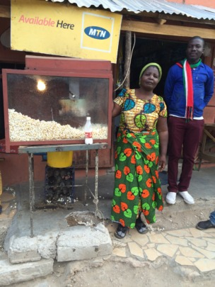 An entrepreneur selling pop corn