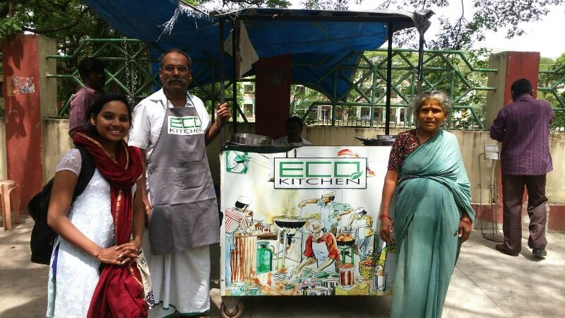 An entrepreneurial couple and owner of a cart