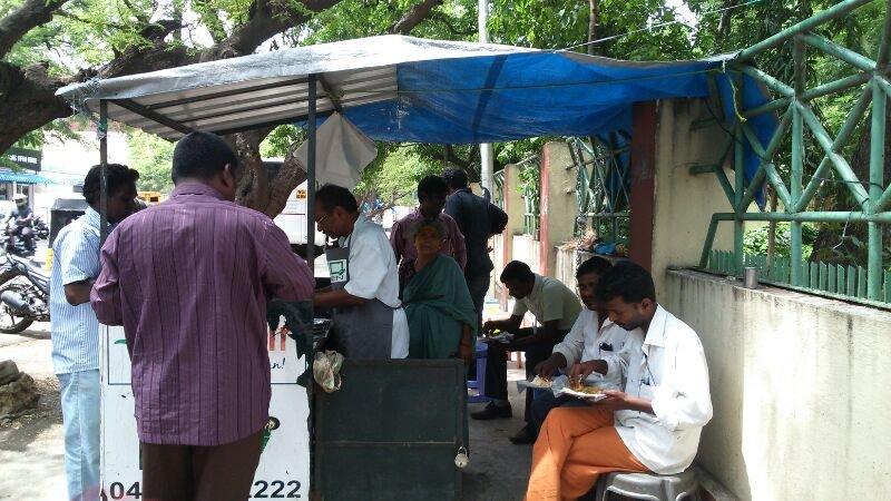 Customers enjoying a filling meal