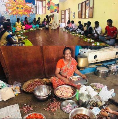 preparing and sharing meals