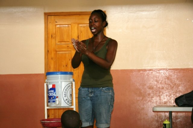 Demonstrating hand-washing