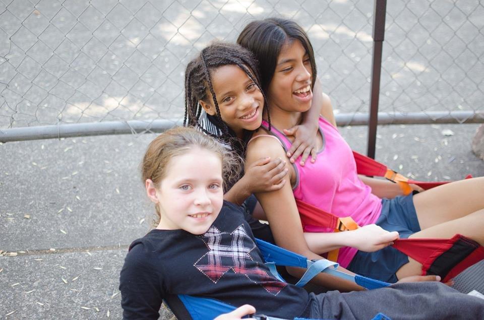 Rosie, Olivia & Marissa in the reading tent.