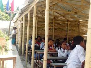 Students in Temporary Shed in Dalchoki School