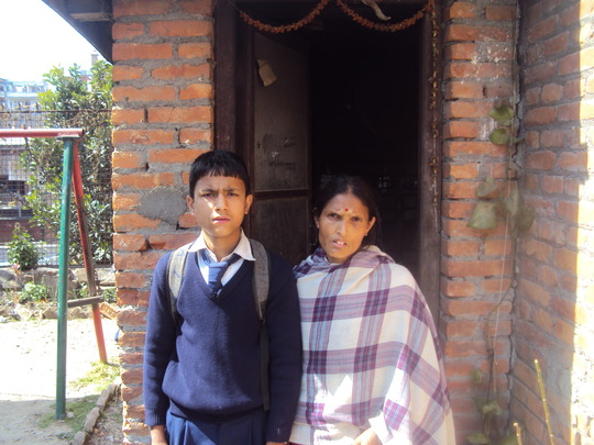 Rasik Bolakhe with his mother