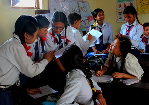 Students practicing English learning in Classroom