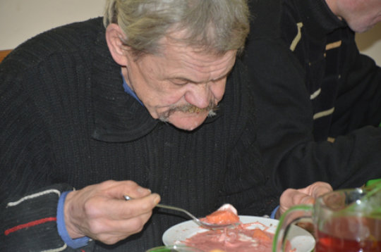 Alexandr Eating Borscht with Cream