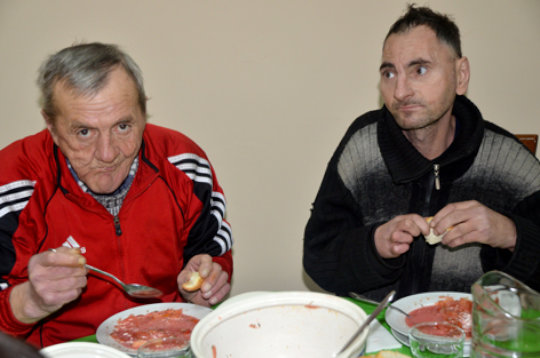 Mircea & Serghei Eating Borscht and Bread
