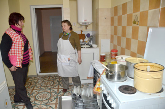 Galina & Dora in Centre's Kitchen