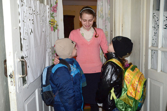 Galina and Children in the Morning