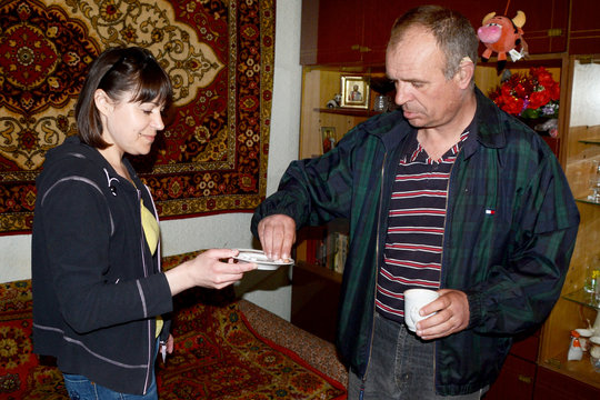 Igor takes TB drugs from Liudmila