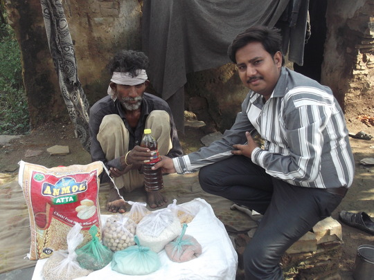 Distribution of groceries to a poor tribal patient