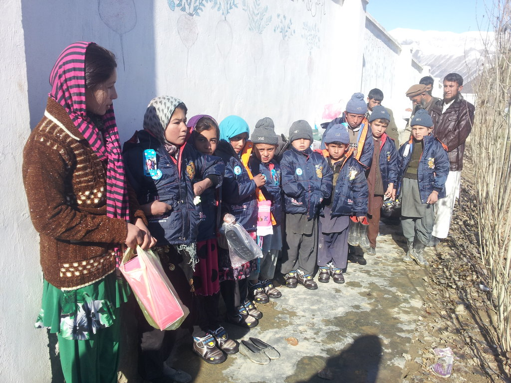 new boots and jackets for Afghan orphans