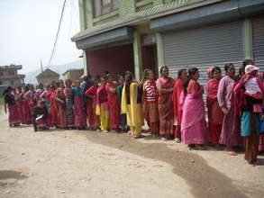 Women in line to receive cervical cancer screening