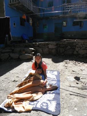 Alex and volunteer Natasha in the sun