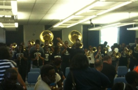 Hunting High School Band playing new instruments