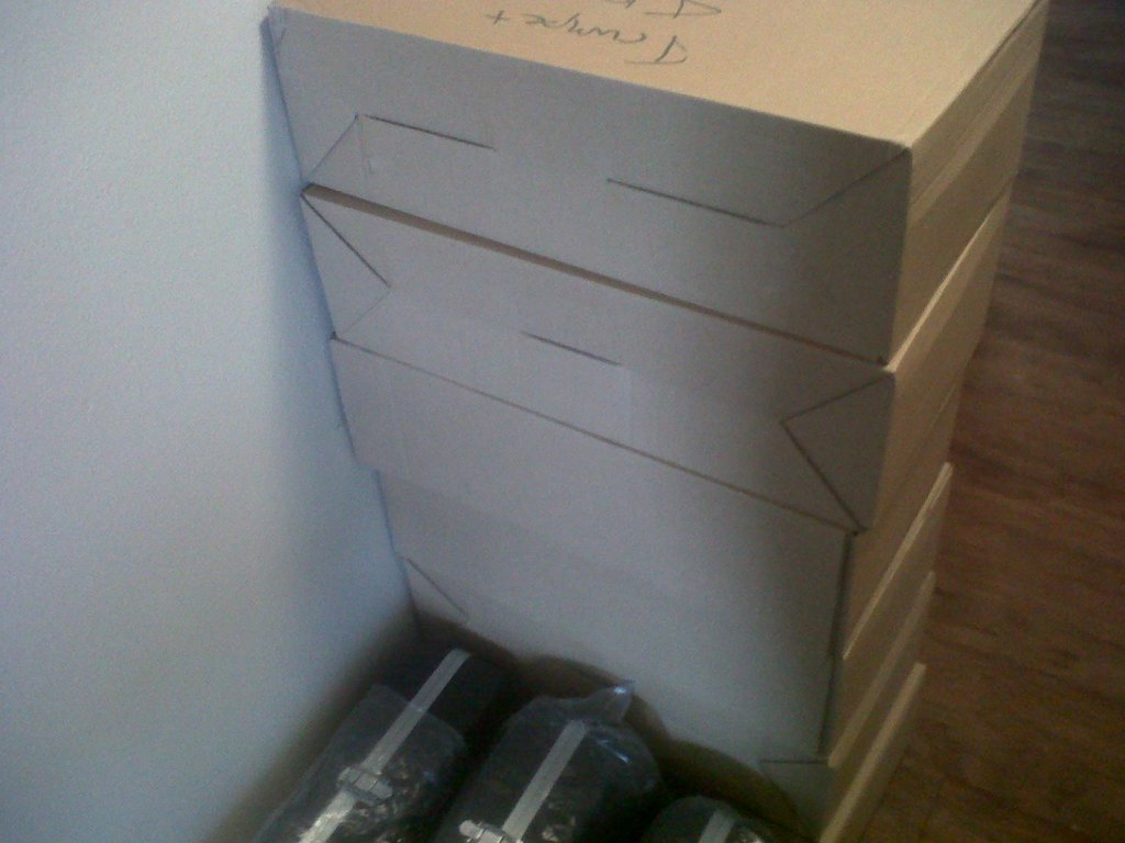 Boxes of trumpets