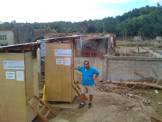 Portable ecosan toilet in devastated areas
