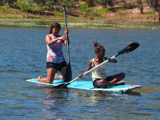 Jessica and Abie getting the hang of the paddling.