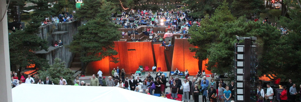 Audience in the Ira Keller Fountain at curtain.