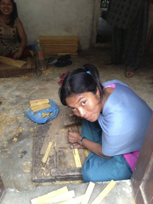 Local Bungamati woman woodworker.