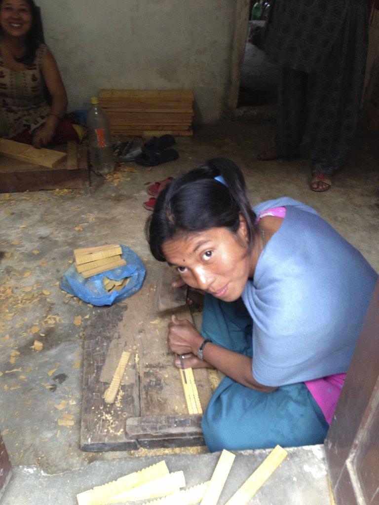 Local Bungamati woman woodworker.
