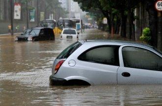 Cars submerged