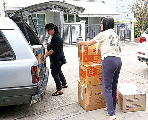 Boxes being sent to different parts of Thailand