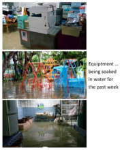 Rooms and Equipment soaked in flood water pastweek