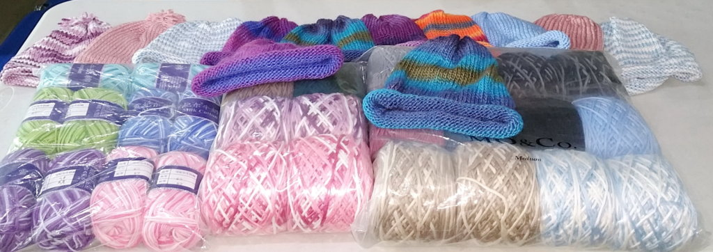 Donated yarn and beanies