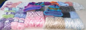 Donated yarn and beanies