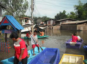 Flooded village that was assisted