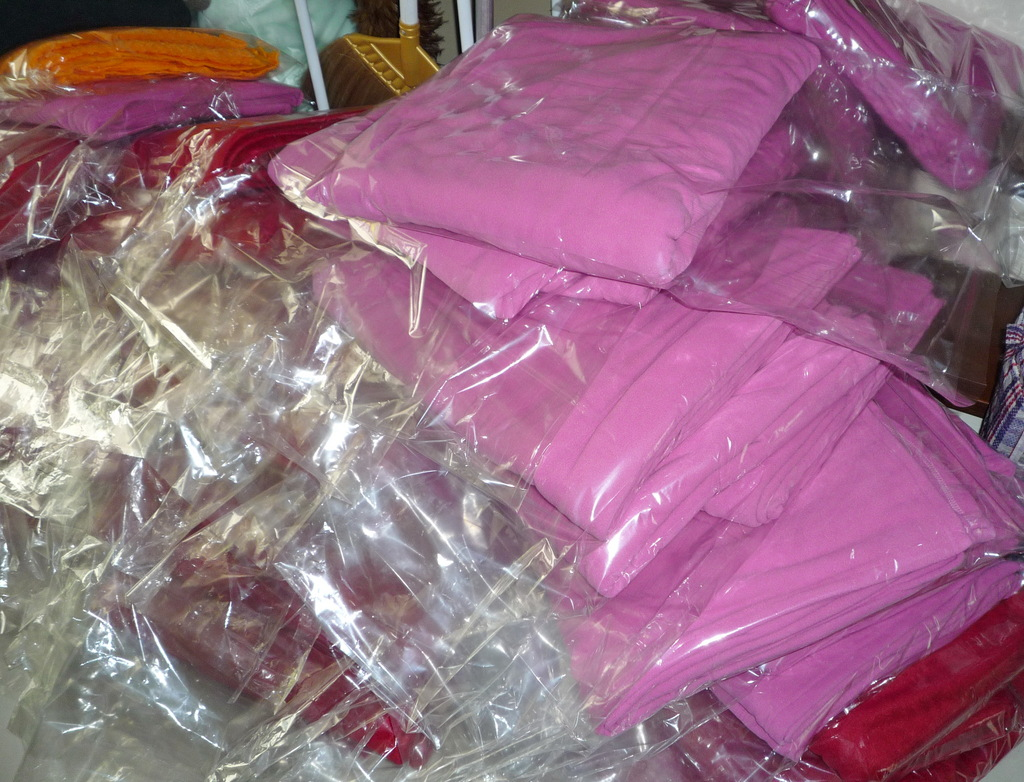 Packing individual blankets with a message of Love