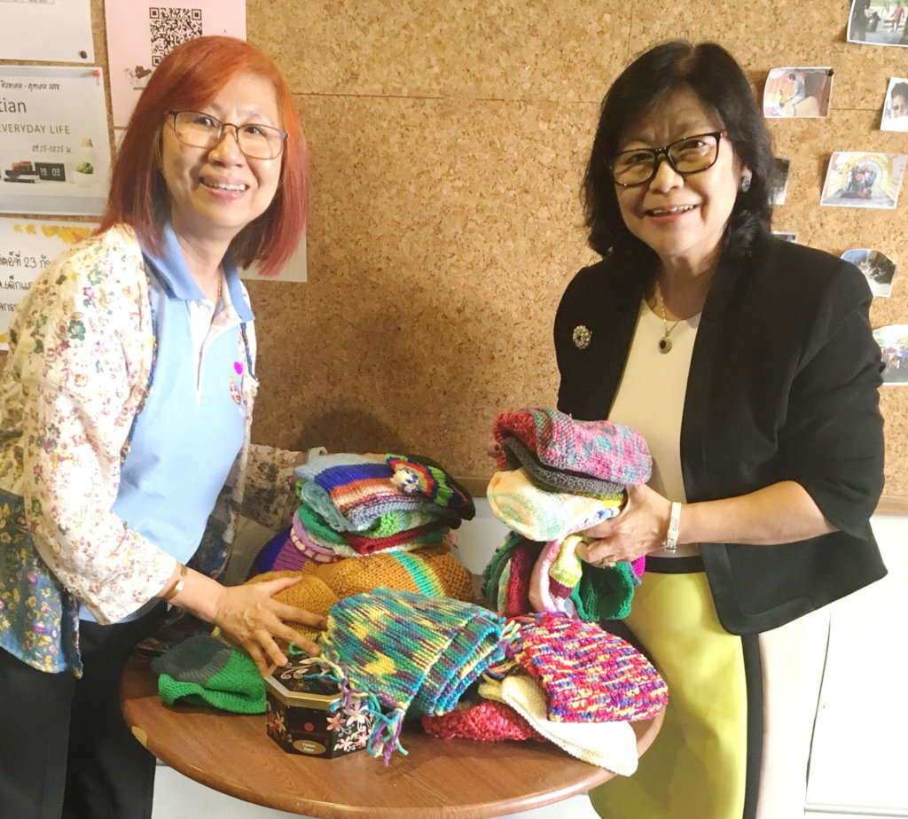 Sally brings knitted beanies back to Thailand