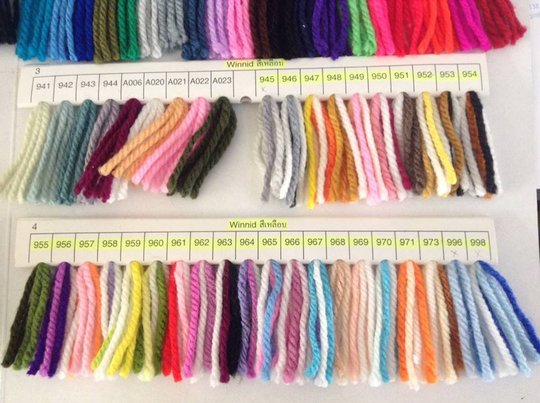 Yarn types, color and sizes up for selection