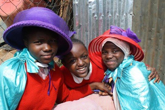 The Kibera LitClub plays dress-up in new costumes