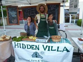Helping at Farmer's Market with Farm Interns