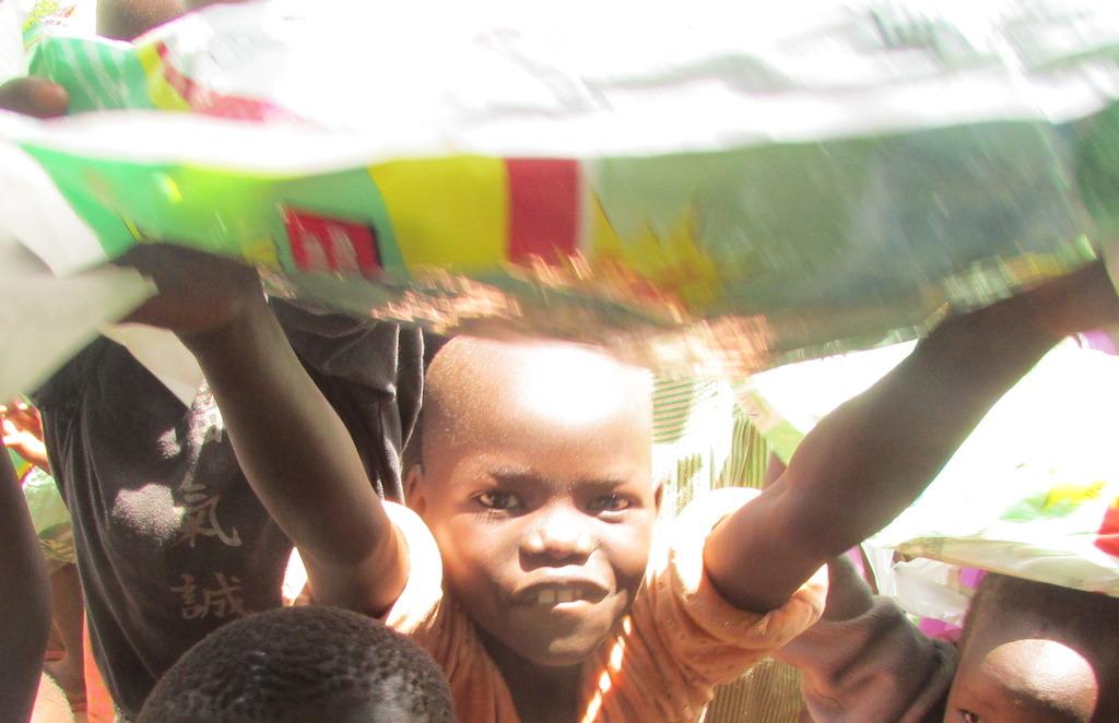 A recipient at Bakhita Primary School May 2015