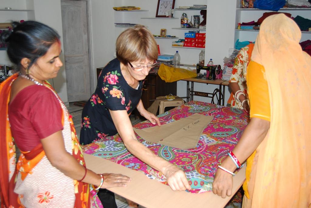 Marlies, volunteer teaching dressmaking